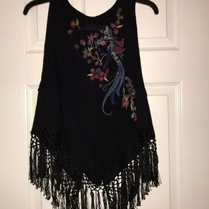 Free People Fringe and Beaded Tank Top